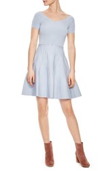 Sandro Scallop Detail Fit And Flare Dress Bleu Gris