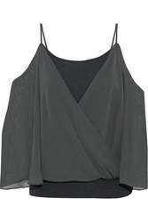 Bailey 44 Tombe Cold Shoulder Layered Chiffon And Jersey Top Army Green