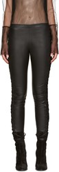 Haider Ackermann Black Leather Lace Up Trousers