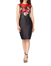 Tahari By Arthur S. Levine Floral Print Bodycon Dress Black Scarlet