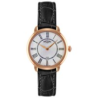Rotary Ls02919 41 Women's Elise Leather Strap Watch Black White