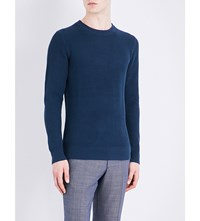 Sandro Waffle Knit Pure Cotton Sweatshirt Peacock Blue