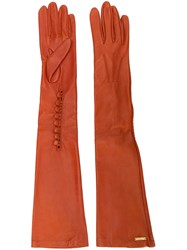 Dsquared2 Calf Leather Long Gloves Orange