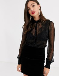 Morgan Lace Trim Shirt In Black