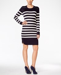 Jessica Howard Button Accent Striped Sweater Dress Navy Ivory