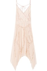 Emilio Pucci Laser Cut Matte Satin And Silk Chiffon Midi Dress Cream Blush