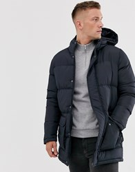French Connection Longline Padded Hooded Parka Navy