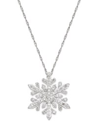 Macy's Diamond Snowflake Pendant Necklace 1 3 Ct. T.W. In Sterling Silver