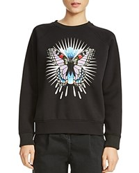 Maje Tory Butterfly Embroidered Sweatshirt Black