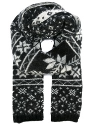 Moncler Fair Isle Scarf Black