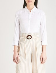 The White Company Embroidered Trim Linen Shirt White