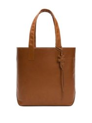 Frye Carson Leather Tote Cognac Black