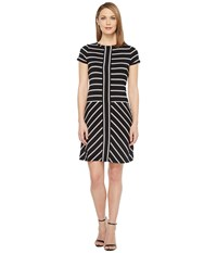 Calvin Klein Short Sleeve Stripe T Shirt Dress Black White Women's Dress