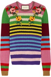 Gucci Appliqued Striped Wool And Cashmere Blend Sweater Pink