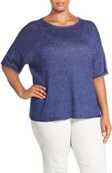 Plus Size Women's Eileen Fisher Organic Linen Round Neck Short Sleeve Sweater