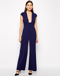 Aq Aq Aq Aq Collate Square Plunge Neck Jumpsuit Midnight