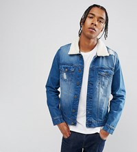 Brooklyn Supply Co. Co Distressed Mid Wash Borg Denim Jacket Bl1 Blue 1