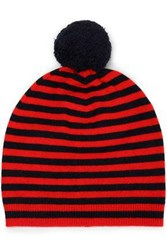 Chinti And Parker Pompom Embellished Striped Wool Cashmere Blend Beanie Red