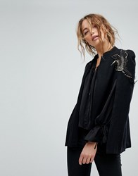 Bolongaro Trevor Paradise Embellished Wool Cape Black