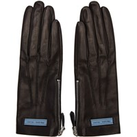 Prada Black Leather Label Gloves