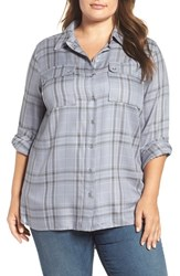Vince Camuto Plus Size Women's Two By Wistful Plaid Utility Shirt