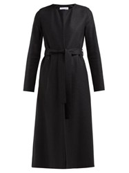 Harris Wharf London Collarless Belted Wool Felt Coat Black