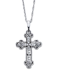 Macy's Diamond Antique Cross Pendant Necklace In 14K White Gold 1 10 Ct. T.W