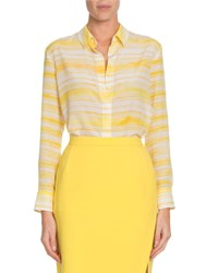 Altuzarra Chika Awning Stripe Classic Silk Button Down Shirt Yellow
