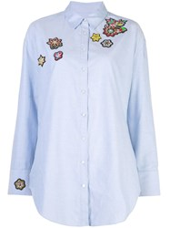 Cinq A Sept Embroidered Patch Shirt Blue