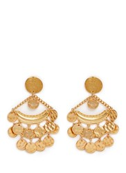 Kenneth Jay Lane Coin Charm Gold Plated Chandelier Earrings Metallic