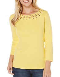 Rafaella Solid Lace Top Yellow