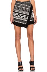 1. State Fringe Hem Cross Front Mini Skirt Black