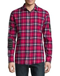 Nana Judy Plaid Print Cotton Button Down Shirt Red