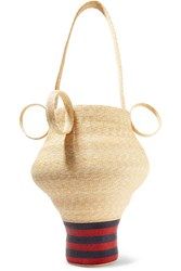 Rosie Assoulin Striped Straw Tote Sand