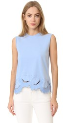 Victoria Beckham Embroidered Sleeveless Tee Powder Blue