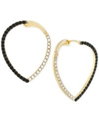 Vince Camuto Two Tone Jet And Clear Crystal Teardrop Crossover Hoop Earrings Two Tone