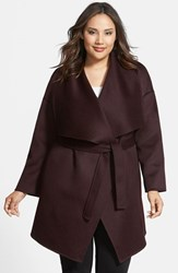 Plus Size Women's Fleurette Wool And Cashmere Double Face Wrap Coat Eggplant