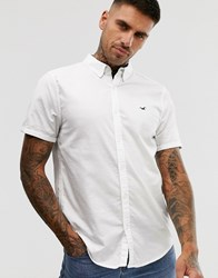Hollister Icon Logo Short Sleeve Slim Fit Oxford Shirt In White