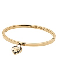 Michael Kors Hinge Bangle With Heart Charm Gold Clear