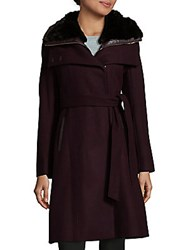 French Connection Belted Faux Fur Collar Coat Black
