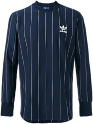 Adidas Originals Pinstripes Longsleeve T Shirt Men Cotton L Blue