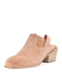 Laurence Dacade Suede Stitched Low Heel Mule Light Pink
