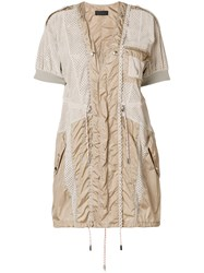 Diesel Black Gold Mesh And Parachute Mini Dress Nude And Neutrals