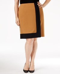 Nine West Plus Size Crepe Framed A Line Skirt Brandy Black