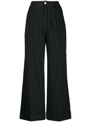 Chanel Vintage 2010 Pinstriped Trousers Black