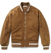 Nonnative Wool Blend And Suede Bomber Jacket Tan