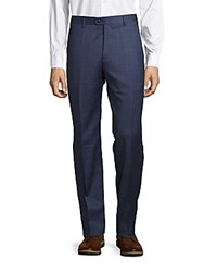 Zanella Devon Window Pane Woolen Pants Medium Blue
