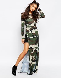 Jaded London Maxi Tunic Top With Front Splits In All Over Camo Print Green