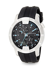 Saks Fifth Avenue Stainless Steel And Rubber Multi Function Watch