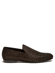 Jimmy Choo Sloane Star Perforated Suede Loafers Black Multi